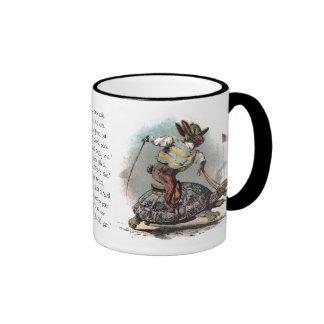 Racing Rabbit Riding Tortoise Ringer Coffee Mug