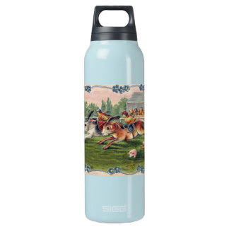 Racing Rabbits and Chicken Jockeys - Cute and Fun Thermos Water Bottle