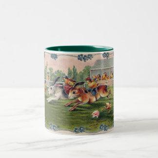 Racing Rabbits and Chicken Jockeys - Cute and Fun Two-Tone Coffee Mug