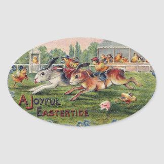 Racing Rabbits and Chicken Jockeys - Easter Races Oval Sticker
