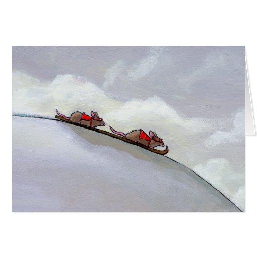 Racing rats skiing downhill fun unique rat art greeting cards