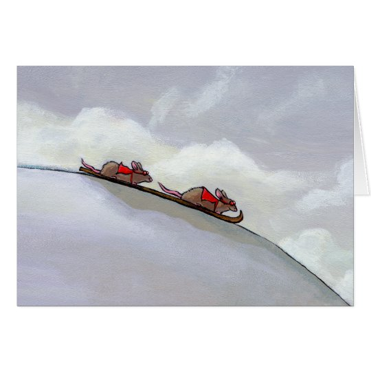 Racing rats skiing downhill fun unique rat art card
