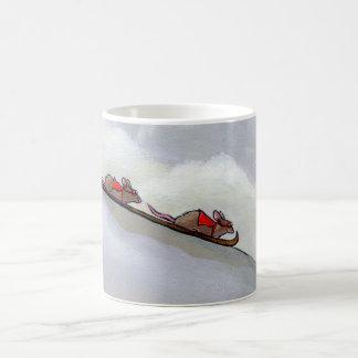Racing rats skiing downhill fun unique rat art coffee mug