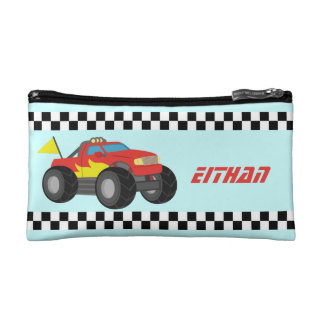 Racing Red Monster Truck, for Boys Cosmetic Bags