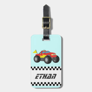Racing Red Monster Truck, for Boys Luggage Tag