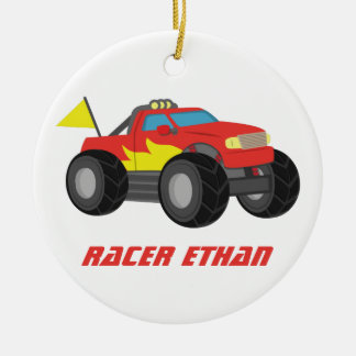 Racing Red Monster Truck, for Boys Room Ceramic Ornament