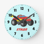 Racing Red Monster Truck, for Boys Room Wall Clocks