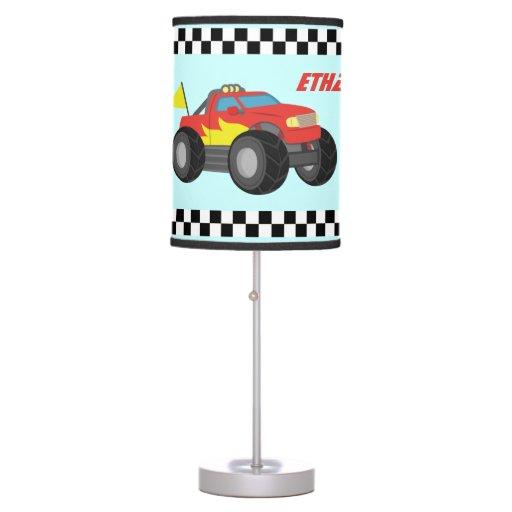 Boy Truck Lamp : Racing red monster truck for boys room desk lamp zazzle