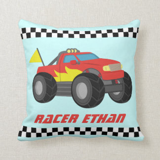 Racing Red Monster Truck, for Boys Room Throw Pillow