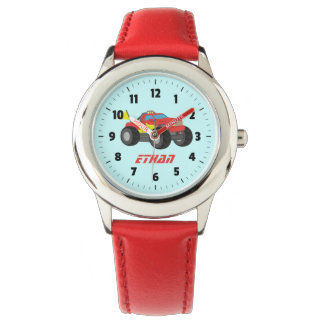 Racing Red Monster Truck, for Boys Wrist Watch