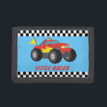 """Racing Red Monster Truck Racer Boy Wallet<br><div class=""""desc"""">Vroom! It is a fiery red racing monster truck with a flames on the side for the little racer! A cool race vehicle design for boys who love racing toy vehicles. Current text reads &quot;Little Racer&quot; which you can personalise with boy&#39;s name.</div>"""
