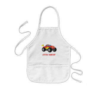 Racing Red Monster Truck Racer Boys Apron