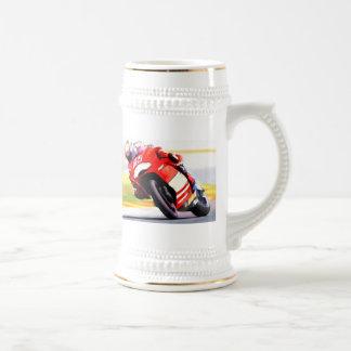 Racing Red Motorcycle Beer Stein