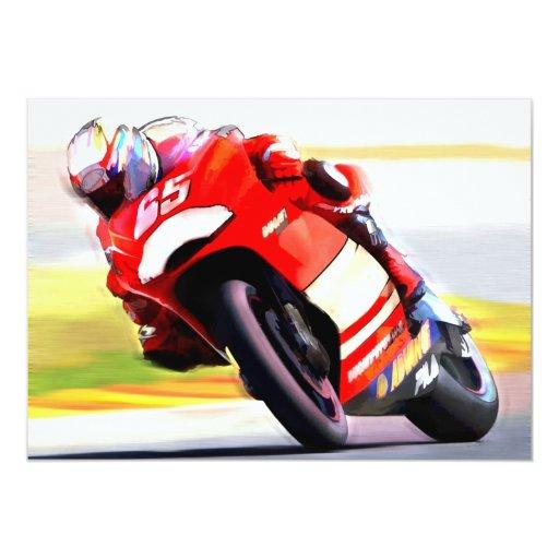 Racing Red Motorcycle Card