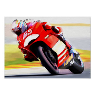 Racing Red Motorcycle Poster