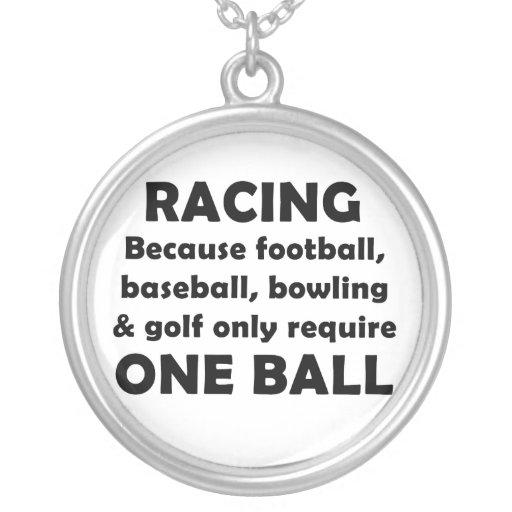 Racing requires balls round pendant necklace