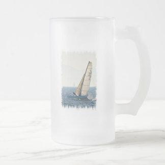 Racing Sailboat Frosted Beer Mug