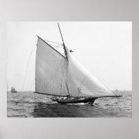 Racing Sailboat Helen, 1890 Poster