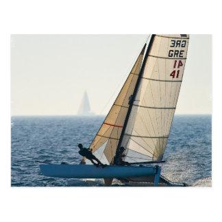 Racing Sailboat Postcard