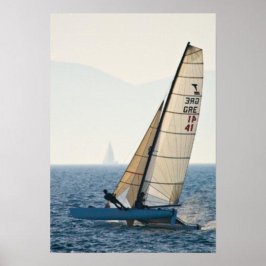 Racing Sailboat Poster
