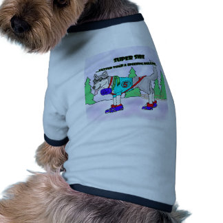 RACING SIBERIAN CARTOON DOG TEE SHIRT