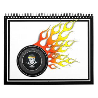 Racing Skull in Flaming Wheel Calendar