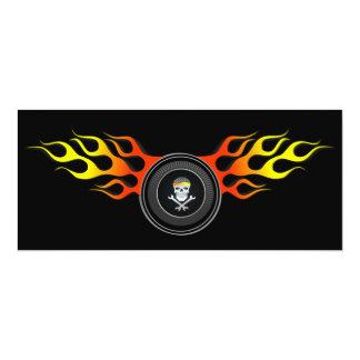 Racing Skull in Flaming Wheel Card