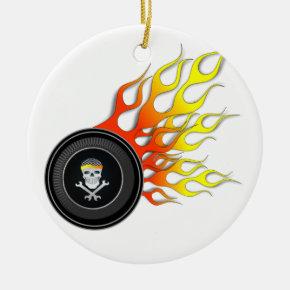 Racing Skull in Flaming Wheel Ceramic Ornament