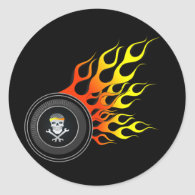 Racing Skull in Flaming Wheel Classic Round Sticker