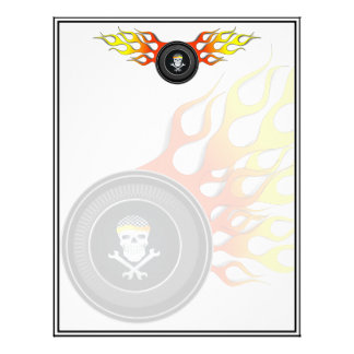 Racing Skull in Flaming Wheel Letterhead