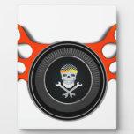 Racing Skull in Flaming Wheel Plaque