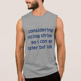 Racing stripe sleeveless shirts