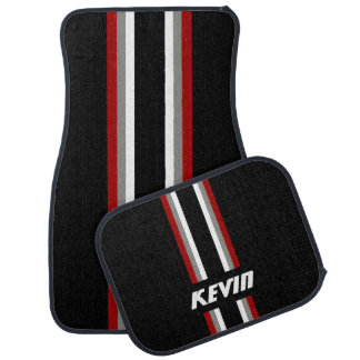 Racing Stripes Personalized Floor Mat