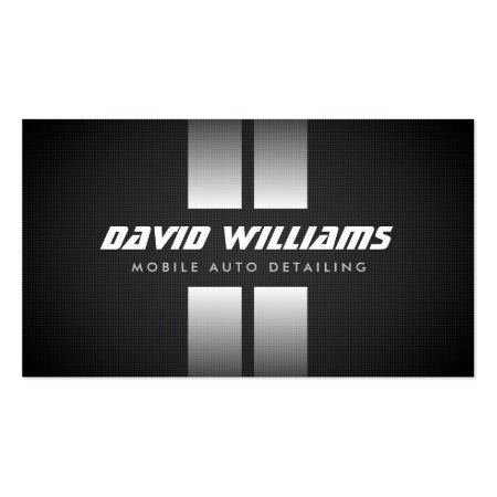 Black and White Racing Stripes Auto Detailing Business Cards