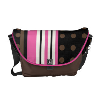 Racing Stripes with Polka Dots Brown and Pink Cute Messenger Bag
