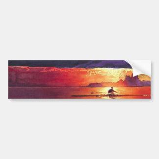 """""""Racing the Sun"""" Seascape Watercolor Bumper Sticker"""