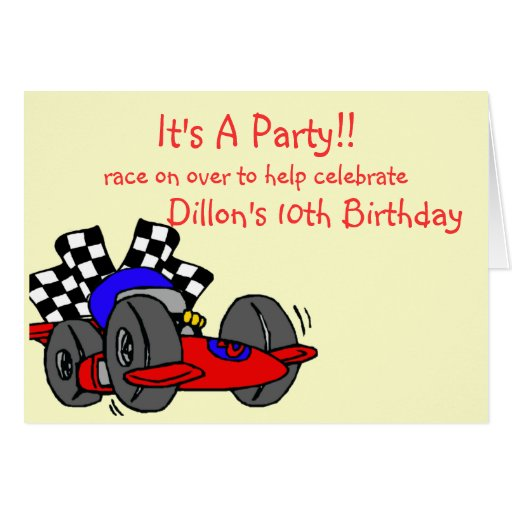 Racing Themed Birthday Invitations