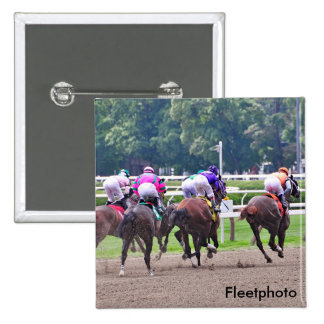 Racing to the Finish Line at Saratoga Pinback Button