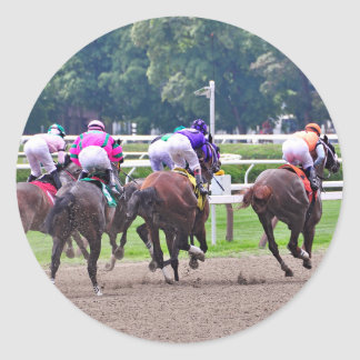 Racing to the Finish Line at Saratoga Classic Round Sticker