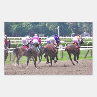Racing to the Finish Line at Saratoga Rectangular Sticker