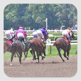 Racing to the Finish Line at Saratoga Square Sticker