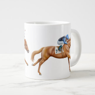 Racing to the Finish Line Race Horse Large Coffee Mug