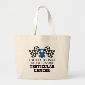 Racing To Win Against Testicular Cancer Large Tote Bag