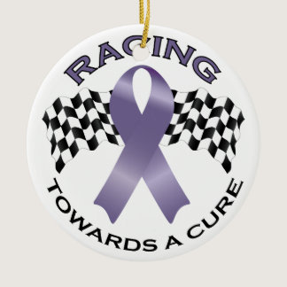 Racing Towards a Cure v2 - All Cancer - Ceramic Ornament
