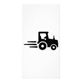 Racing tractor custom photo card