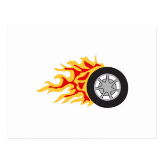 RACING WHEEL WITH FLAMES POSTCARDS