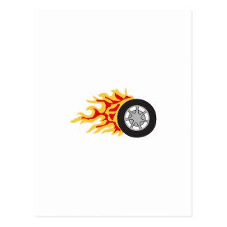 RACING WHEEL WITH FLAMES POSTCARD