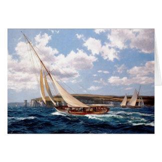 Racing yacht at sea card