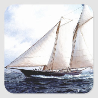 Racing yacht at sea square sticker