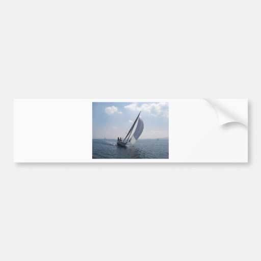 Racing yacht at speed. bumper stickers